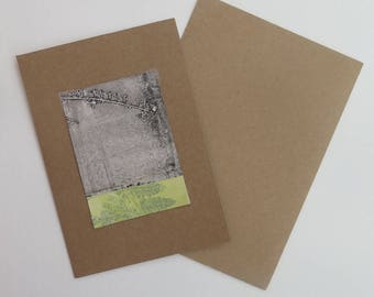 Small original hand printed botanical mini print ACEO Soft dusky yellow black  & grey on cream paper by Stef Mitchell Miniature nature print