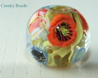 Handmade Lampwork Focal bead - 'Poppies' - Creeky Beads SRA