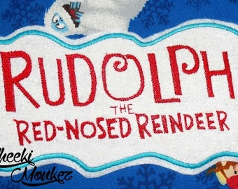 Ready to Ship RTS Boutique Custom Christmas Xmas Rudolph Logo inspired Reindeer embroidery Applique Iron On Patch DIY 5x7