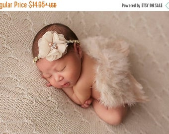 ON SALE Tan/Gold Wing Set, Baby Photography Prop, Newborn Prop, Wing Set, Feather Wing and Headband Set, Baby Bling, Rhinestone Headband