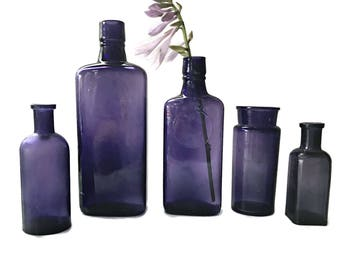 5 Vintage Purple Bottles Purple Glass Bottle Collection  Rustic Old Bottles Violet Apothecary Medicine Bottles