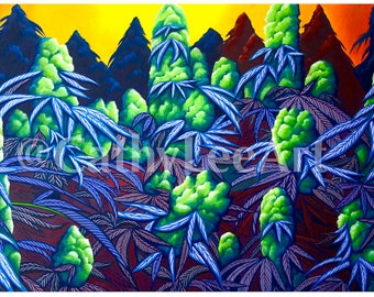 Sea of Purps-Cannabis Painting Canvas Giclee Print