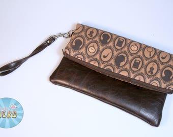 Sherlock Inspired Foldover Clutch - Wristlet, Fully Lined, Inside Pockets - The Sasha