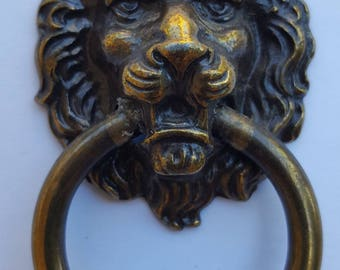 Brass Lion drawer pull assemblage vintage parts