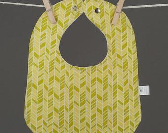 Organic Citrus Herringbone Bib, Organic Baby Bib, Cotton Baby Bib, Baby Snap Bib, Organic Baby Gift, Organic Shower Gift, Yellow Nursery