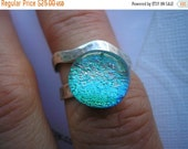 SPRING SALE Emerald Aqua Green Ring, Coral Highlights, Dichroic Fused Glass, Hammered Sterling Silver Ring, Adjustable Ring, Contemporary Wr