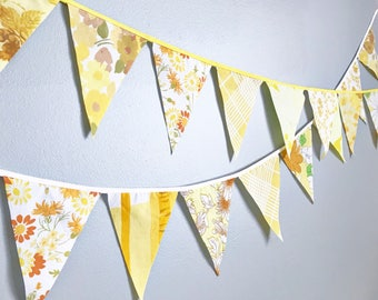 Yellow Flag Garland Bunting Banner - Flags Made From Yellow Vintage Sheet Fabrics - Baby Showers, Nursery Decor, Birthday Parties, Weddings