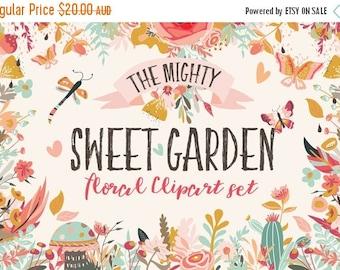 80% OFF Floral Clipart Bundle, Sweet Garden, Hand Drawn Illustrations, Clip Art,  flowers, leaves, wreaths, Butterflies, hearts, Patterns