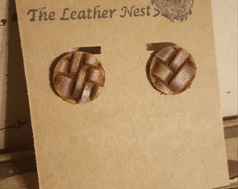 Leather Stud Earrings, Stud Earrings, Circle Stud Earrings, Natural Leather, Brown, Basket Weave, 100% Leather, Lightweight