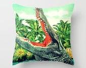 Retro Alligator Pillow Cover, Alligator Nursery Decor, Florida Gator Reptile Lover Pillow, Alligator Throw Pillow Gator Gift Kids Room