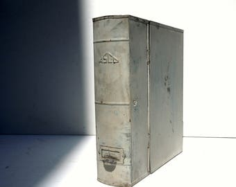 Vintage Metal File Box with Label Holder and Finger Pull / Storage Organization / File Storage Box / Vintage Library / Distressed Metal Box