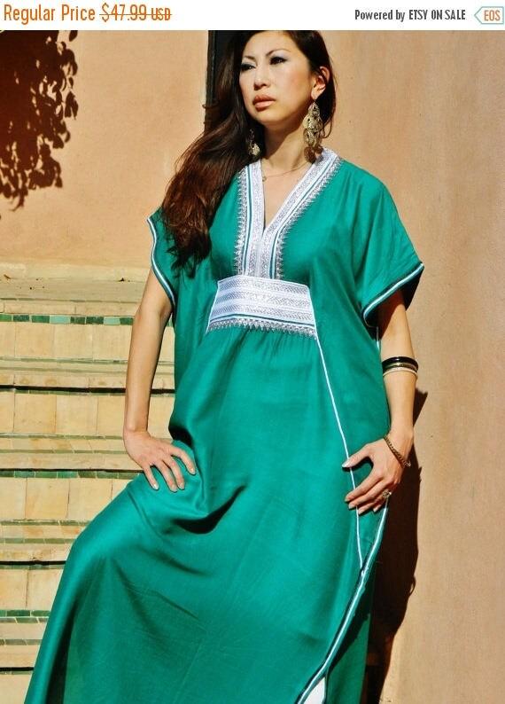 Autumn Dress 20% OFF/ Emerald Green Marine Resort Caftan Kaftan - Mothers day, birthday gifts, resortwear,loungewear, birthdays, honeymoon,