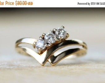 ON SALE Vintage Gold Ring Cubic Zirconia Ladies CZ Wedding Wishbone Engagement Ring Yellow 9k 9kt 375 Free Shipping Size L.5 / 6