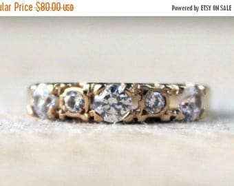 ON SALE Vintage Gold Ring Cubic Zirconia CZ Engagement Wedding Yellow Ladies 9ct 9k 375 English Free Shipping Size H / 4
