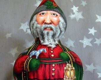 "Jultomte, Sweden, Santa Claus gnome, unique gourd art, hand painted, 9 1/2"" tall x 6"" diameter"
