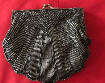 80's bugle bead evening bag