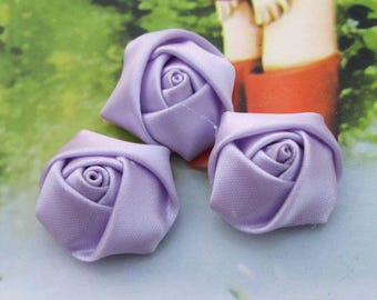 30 small Satin flowers, handmade ribbon flowers, satin fabric flowers, satin rose, Lt Orchid Satin fabric Roses, flower cabochons 20x12mm