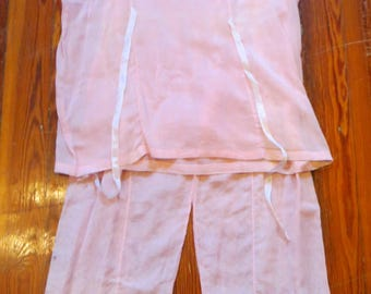 Darling 20s/30s French Voil Pink Pajama Set