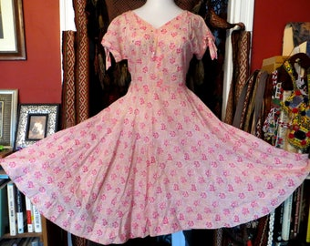 SALE  Larger 50s Pink Cotton Floral Dress with Shelf Bust and Rhinestone Trim