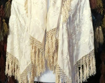 Gorgeous 20s/30s Ivory on Ivory Silk Embroidered Piano Shawl