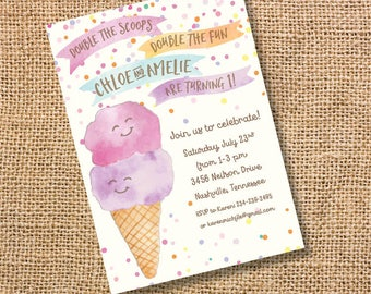 Ice Cream Twins Birthday Invitation Pink Purple Party Double Scoop Invite Ice Cream Cone Baby Shower Watercolor 1st Bday Summer Printable