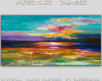 Original painting abstract color stroke texture art large landscape painting on gallery wrap canvas Ready to hang by tim Lam 48x24