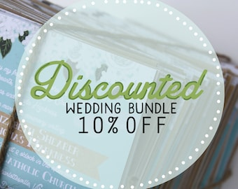 DISCOUNTED Bundle - Invite, RSVP, Map / Reception Card, Info. Card, + 5th Card : Custom Illustrated