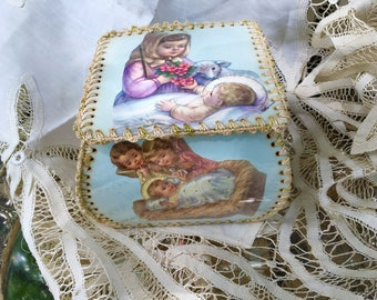 Handmade Box Vintage Greeting Card Christmas Angel Nativity
