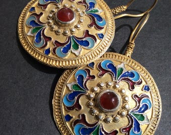 FREE SHIPPING  ISTANBUL Earring vintage antique uzbek russian inspired sterling enamel carnelian