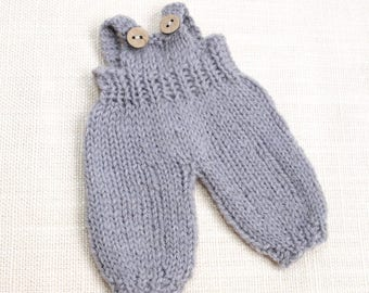 Waldorf Doll Clothes - Knitted Overalls - Grey color knitted overall - fits 7 - 8 inch dolls