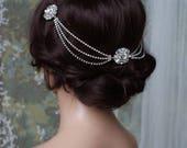 Art Deco Headpiece  Draped chain Hair Accessories  1920s Bridal headpiece  Crystal headpiece Art Deco wedding dress