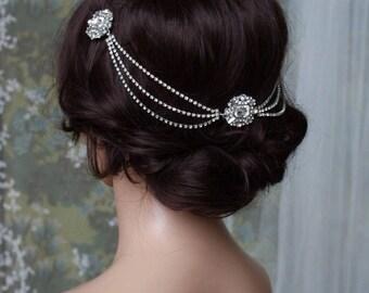 Art Deco Headpiece - Draped chain Hair Accessories - 1920s Bridal headpiece - Crystal headpiece -Art Deco wedding dress