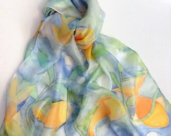 Orange Fish hand painted Silk Scarf.  Fish silk scarf.  Underwater Silk scarf hand painted.