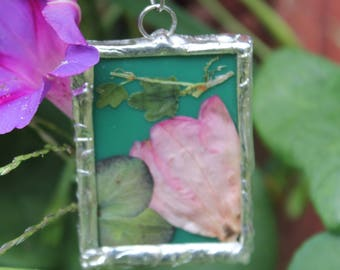 Flower pendant terrarium pendant Azalea and hydrangea soldered glass pendant