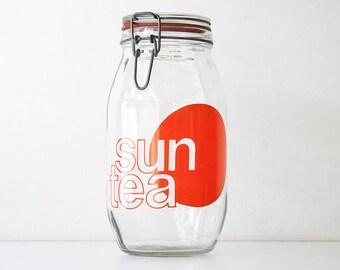 Vintage Modern Glass Typography Sun Tea Canister