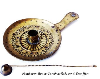 Vintage Brass Candlestick and Snuffer/ Mexican Hammered Brass/ Handcrafted Vintage Mexican Folk Art