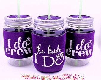 ON SALE Bachelorette Party Cups, Bachelorette Party Favors, I Do Crew Cups, Deep Purple