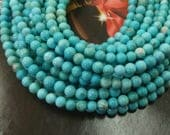 Blue Turquoise Stone Small round ball beads 4mm -98pcs/Strand
