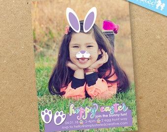 Bunny Ears Easter Photo Invitation, Cute Easter Egg Hunt Digital Invitation - DiY Printable, Print Service Available || My Cute Purple Bunny