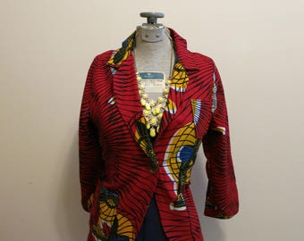 Blazer wax block print vintage fan red gold African colorful S