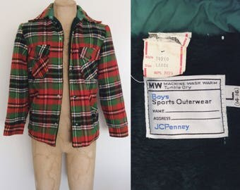 1970's Youth Boys Plaid Jacket Vintage Red & Green Plaid Acrylic Jacket Size Youth Large Men's XS Small by Maeberry Vintage