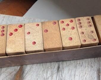 vintage wooden domino set
