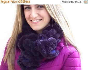 CIJ SALE Soft Fluffy Scarf, Purple and Pink Plush Knitted Warm Winter Neck Warmer