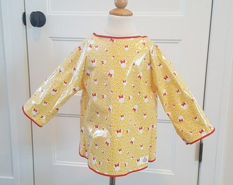 4T/5T Long Sleeve Art Smock -  Yellow and Red Minnie - Waterproof and Long Sleeved