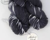 "SALE Hand dyed yarn SW Merino nylon ""Shibori Black"" DK handknitting yarn Andrea, dollmaking, weaving, crochet, crewel"