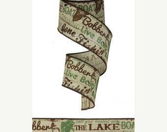 ON SALE 2.5 Inch Lake Boat Fish Print Ribbon RG1411, Natural Chocolate Green Ribbon