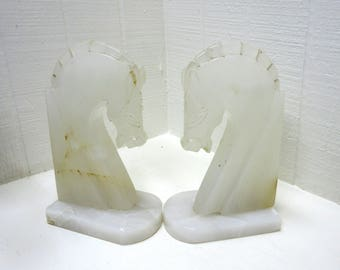 Vintage Alabaster / Onyx Horse Head Bookends Made In Mexico