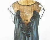 Sheer Net Vintage Nightgown Black Tea Length Unworn 40 Bust