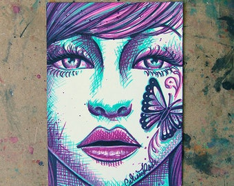 ORIGINAL DRAWING Sharpie Pop Art Artwork 5x7 inches - Pretty Pop Art Girl Portrait Pink and Green with Butterfly