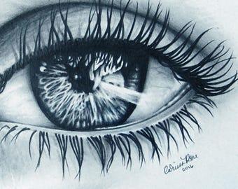 ORIGINAL DRAWING Eye 5x7 inch Pencil Drawing by Carissa Rose Realistic Eye Art